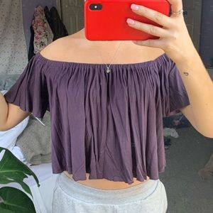 Tops - Purple off the shoulder cropped shirt